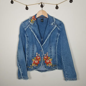 Y2K Jordache Floral Embroidered Jean Jacket M